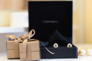 Wedding props, cufflinks with diamonds