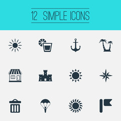 Vector Illustration Set Of Simple Beach Icons. Elements Summer Fun, Beverage, Hot And Other Synonyms Wind, Castle And Sunlight.