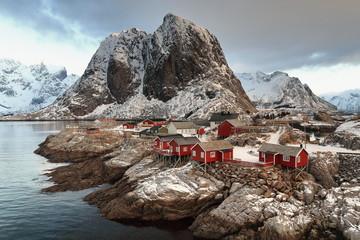 Hamnoy fishing village-foot of 389 ms.Festhaeltinden mount. Moskenes kommune-Moskenesoya-Lofoten-Norway. 0223
