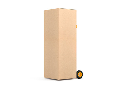 Large cardboard box packaging for refrigerator on Hand Truck, 3d rendering