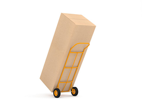 Yellow Hand Truck with large cardboard box on white background, packaging for household refrigerator, 3d rendering