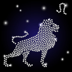 Sign of the zodiac Leo is the starry sky