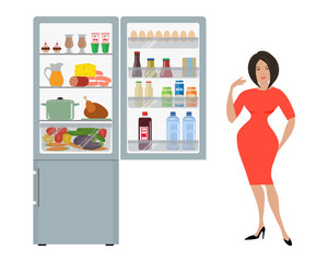 Gray fridge with open doors, a full of food. Next to the refrigerator is a woman in a red dress and points at him with her hand. Vector flat illustration.