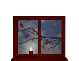 Autumn window with candle