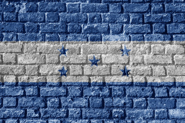 Honduras Flag Painted on brick wall