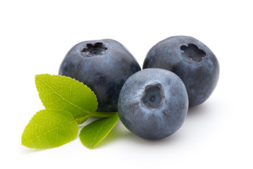 Fresh blueberries on a white background.