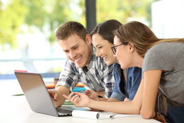 Three students learning together on line