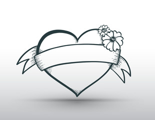 Heart banner drawn for love
