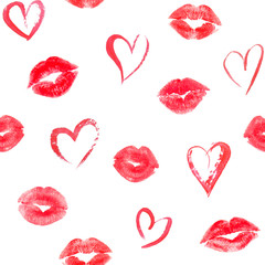 Seamless pattern with hearts and traces lips kisses