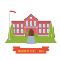 Back to school concept. School yard with trees and flag. Education. Flat design building