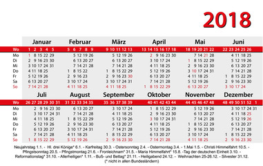 Kalender 2018 Visitenkartenformat rot