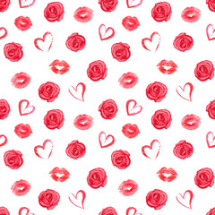 Seamless pattern with roses, hearts and red traces of lipstick