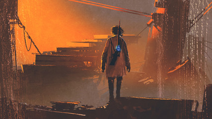 man with futuristic gun standing in abandoned city at sunset, digital art style, illustration painting