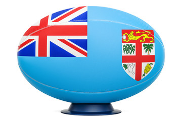 Rugby Ball with flag of Fiji, 3D rendering