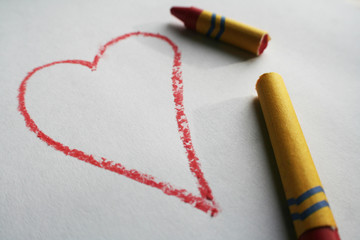 """Broken Heart"" Red broken crayon next to a heart representing the persons state of mind high quality"