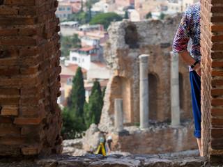 Taormina theatre with tourist