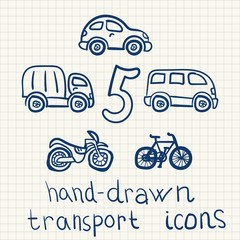 Vector hand-drawn transports illustrations