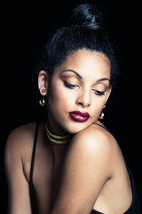 beauty portrait of a sensual glamorous young African woman