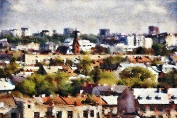 Top view of old city center in Europe. Artwork. Lviv, Ukraine. Roof cityscape. Watercolor painting hand drawn. Oil painting picture. Good for postcards, posters, web design, artwork. Very high size.