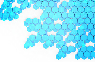 Blockchain Distributed ledger technology , cryptocurrencies or bitcoin concept. Blue Hexagon six-sided polygon symbol on white background.
