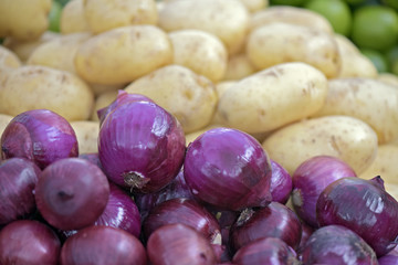 Onions and potatoes on display at a free-trade fair in Brazil