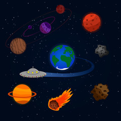 Set of vectors on a theme of space. Multicolored planets, Earth, asteroids and meteorites, flying saucer.vector illustration. Template on a space theme