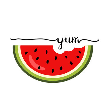 Summer watermelon slice, with bite taken off. flat vector illustration isolate on a white background.