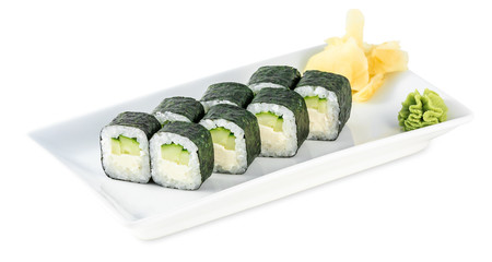 Rolls with cucumber and cheese plate - MITAKA isolated on white