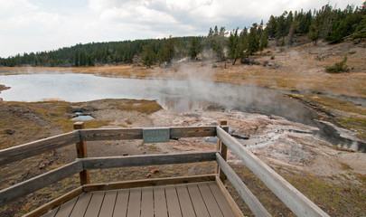 Artesia Geyser next to Firehole Lake in the Lower Geyser Basin in Yellowstone National Park in Wyoming United States