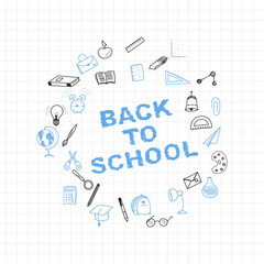 Back to school. Set of drawing vector elements with a sheet in a box. for education with endolar accessories. Vector illustration.