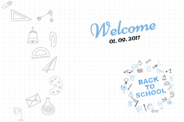 Template on a theme back to school with a sheet in a box. A set of drawing vector elements for education with endolar accessories. Vector illustration.