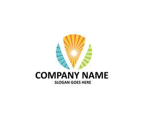 v letter sun logo