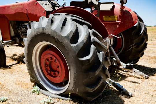 Flat Tire on an Agricultural Farm Tractor