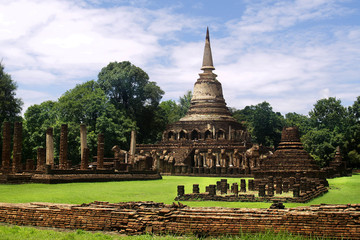 buddhist temple, in the historical park of  Sukhothai,Thailand
