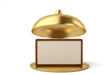 Golden opened cloche with wooden board isolated on white background 3D illustration.