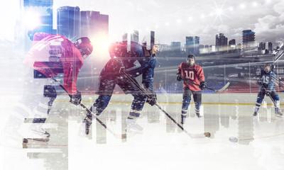 Hockey players on ice. Mixed media