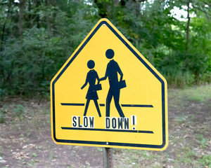 School crossing sign with slow down lettering