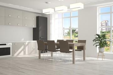 White kitchen with simmer landscape in window. Scandinavian interior design. 3D illustration