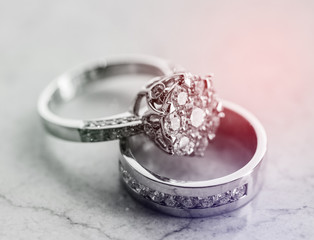 Beautiful jewelry rings with sunlight
