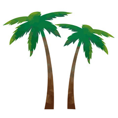 Funny and cool colorful coconut trees - vector.