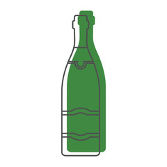 Bottle alcohol champagne in line with color silhouette style icons vector illustration for design and web isolated on white background