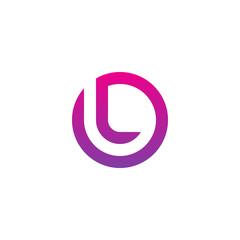 Initial letter ol, lo, l inside o, linked line circle shape logo, purple pink gradient color