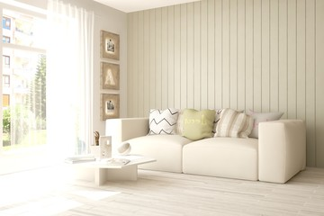 White idea of minimalist room with sofa. Scandinavian interior design. 3D illustration