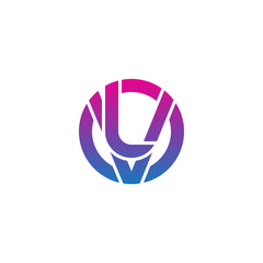 Initial letter vl, lv, l inside v, linked line circle shape logo, purple pink gradient color