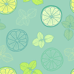 Seamless pattern with slices of lime and leaves of mint on blue background