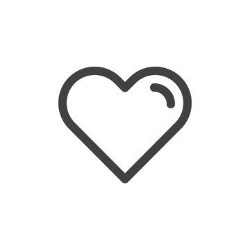 Heart line simple icon, outline vector sign, linear style pictogram isolated on white. Love, favorite symbol, logo illustration. Editable stroke. Pixel perfect vector graphics