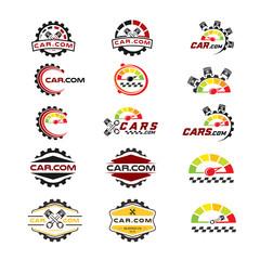 set of logo car garage retro emblems