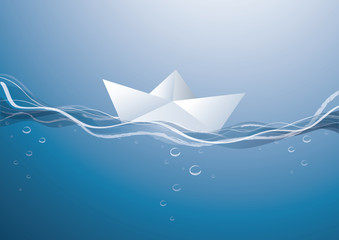 paper boat on the waves, paper boat sailing on blue water surface
