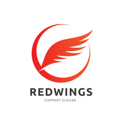 red wing logo template. vector illustration