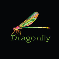 Vector of colorful dragonfly design(Amphipterygidae) on black background. Insect Animal.